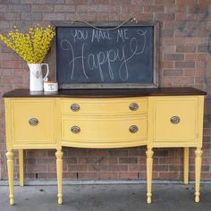 Antique Buffet in Apricot Chalk Style Paint and Java Gel Stain Top by General Finishes