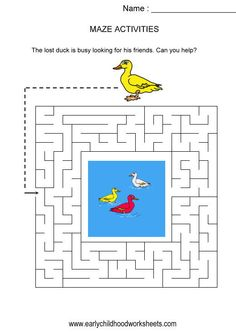 Duck maze (kids activity, visual skills, hand eye coordination)