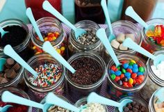 Love this for the ice cream bar! Use pink spoons and mason jars