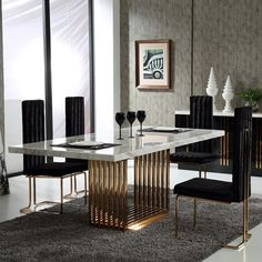 Ideas and Inspiration for Modern Dining Room Furniture Design Luxury Dining Tables, Luxury Dining Room, Modern Dining Table, Dining Table In Kitchen, Antique Dining Tables, Outdoor Dining, Dinning Table Design, Marble Top Dining Table, Stainless Steel Dining Table