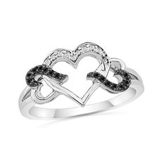 1/10 CT. T.W. Black and White Diamond Triple Heart Ring in Sterling Silver - Zales