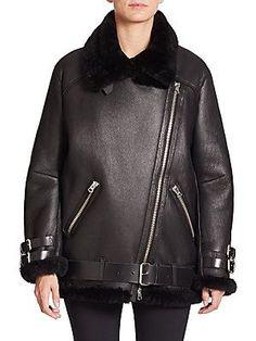 Acne Studios Velocite Oversized Shearling Moto Jacket
