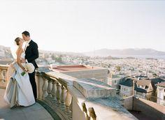 wedding overlooking a city