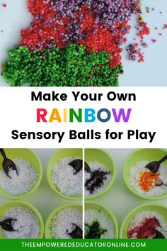 Sensory fun with DIY sensory balls - this sensory play recipe provides a safer alternative to water beads. Let the kids make their own rainbow sensory balls and watch them get creative with sensory play! | The Empowered Educator Sensory Play Recipes, Sensory Activities, Activities For Kids, Early Years Teacher, Family Day Care, Water Beads, Autism Resources, Play Based Learning, Play Food