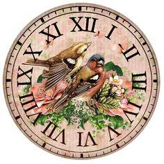 Clock Craft, Diy Clock, Vintage Images, Vintage Posters, Shabby Chic Clock, Clock Flower, Decoupage Printables, Face Images, Decoupage Paper