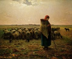 Shepherdess with her Flock Painting by Jean Francoise Millet