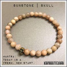 Bracelets womens mens I Beaded & Charm Yoga Mala I Meditation & Mantra I Spiritual   karma arm. Sunstone Skulls.