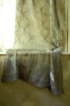 Sage color lace curtains ✿⊱╮ by VoyageVisuel Color Verde Militar, Green Colors, Colours, Color Style, Sage Color, Lace Curtains, Drapery, Linens And Lace, Colour Board