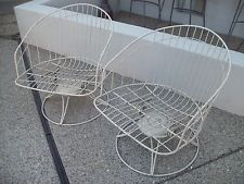 Two Vtg Mid Century Modern Wrought Iron Outdoor Lounge Chair...