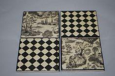 Four Piece Ceramic Coaster Set. $5.00, via Etsy.