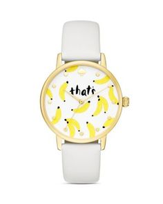 kate spade new york Metro That's Bananas Leather Strap Watch, 34mm | Bloomingdale's
