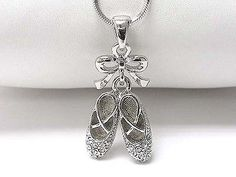 Ballerina Toe Shoe Slippers Ribbon White Gold Plated Ballet Charm Chain Necklace