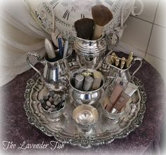 Use garage sale silver to store makeup, jewelry, etc. I'm not the only person t. - Use garage sale silver to store makeup, jewelry, etc. I'm not the only person to come up with th - Antique Decor, Vintage Decor, Antique Furniture, Silver Trays, Silver Tray Decor, Silver Spoons, Silver Plate, Silver Rings, Silver Tea Set