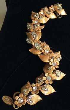 Rare Vintage Miriam Haskell Bracelet~Gold Tone Filigree/Clear Rhinestones~Signed #MiriamHaskell