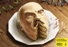 """""""Creative agency Euro RSCG has envisioned a print advertising campaign for the 50th anniversary of Amnesty International, which includes two-cake-heads of Fidel Castro and Alexander Lukashenko. The slogan of the project is: '50 years together with you, cutting down the voice of oppression.'"""""""