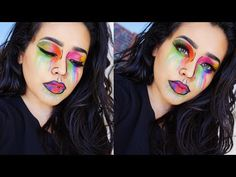 Pin for Later: If You Love Snapchat, You Need to Try These Filter-Inspired Looks For Halloween  Alva Velasco's use of colored contacts made her tutorial inspired by the colorful paint-splatter filter look even more like an illustration. Halloween Contacts, Halloween Makeup, Snapchat Filters, Colored Contacts, Paint Splatter, Makeup Looks, Spooky Spooky, Contours, Makeup Tutorials