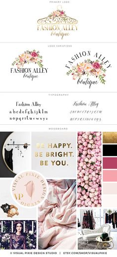 Branding Package - Gold Hanger Logo - Boutique Watercolor Flowers Logo Design - Clothing Boutique Logo Blog Premade Marketing Branding Kit Logo Design, Print Design, Branding Design, Blog Logo, Boutique Logo, Clothing Logo, Boutique Clothing, Colores Hex, Hanger Logo