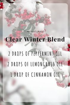 ::Clear Winter Blend:: Keep your house cozy and fresh through the winter season with this #DIY blend of Peppermint, Lemongrass and Cinnamon essential oils!