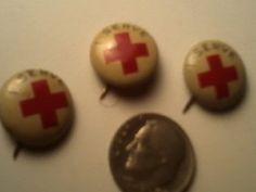 3 Red Cross Pinback Pins Vintage by vintagepostexchange on Etsy