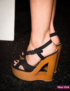 As expected, the spring 2014 Fashion Week runways were a visual cornucopia for shoe lovers everywhere. We saw it all this season—colorful loafers, cutout wedges, sleek pumps, and even clunky flatforms. Feast your eyes on some of our favorite spring shoes. Comfortable High Heels, Shoes 2015, 2014 Trends, Sexy High Heels, Love Fashion, Female Fashion, Fashion Flats, Summer Shoes, Wedge Shoes