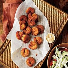Serve a lighter version of fried shrimp with a creamy Creole dipping sauce. Fresh, seasonal veggies make the perfect accompaniment.