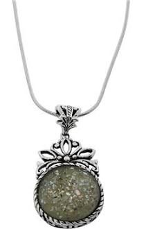 """ Large Round Roman Glass Necklace with Ornate Sterling Silver Flower Frame 23.6"""" / 60 cm +$6.00"""