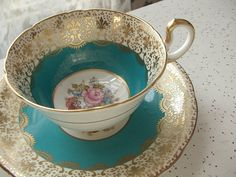 antique Aynsley tea cup and saucer set, signed J Bailey, turquoise blue gold tea cup, vintage 1930's english bone china tea set