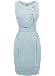 Bqueen Pale Tencel Denim Dress K453L,  Dress, Bqueen Pale Tencel Denim Dress, Chic