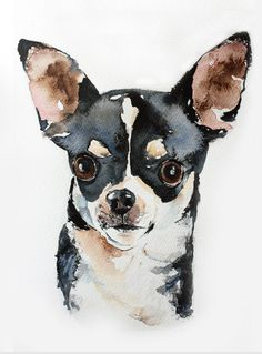 Custom pet portrait 11 x 15 original by wetnosewatercolours #chihuahua #painting #uk #art