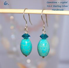 Turquoise 925 Sterling Silver earrings with gemstone. http://stores.ebay.ie/SilverTrend4U/_i.html?rt=nc&_sid=721432039&_trksid=p4634.c0.m14.l1581&_pgn=2