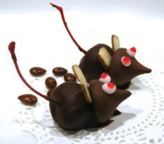 This is just the most fun to make. I found this Chocolate Cherry Mice Candy recipe in the Betty Crocker Halloween Cookbook. Kids just love these.