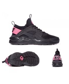 new concept 2e921 0845e Nike Junior Air Huarache Run Ultra Trainers Black Pink S92048 Nike Huarache,  Pink Nikes,