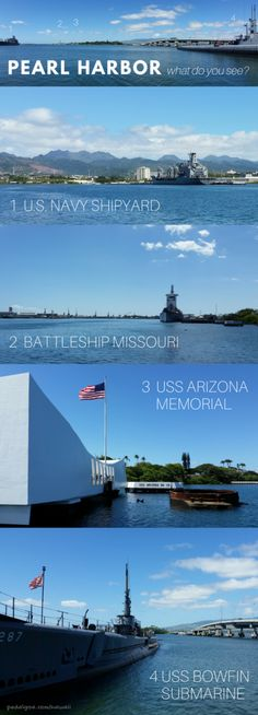 Pearl Harbor, USS Arizona memorial, Battleship Missouri, USS Bowfin Submarine, museum. Hawaii top travel bucket list of cheap things to do on Oahu, near Waikiki, on days you don't go hiking, snorkeling, to beaches. As national monument, it's a national park in Hawaii! Culture, history activities, make a remembrance of the Pearl Harbor attack at this beautiful outdoor museum part of your Hawaii vacation on a budget. Make a day trip visit from Honolulu cruise port. Free admissions. #hawaii…