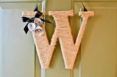 Twine Monogram Wreath with Customized Handcrafted Flowers on Etsy, $19.99
