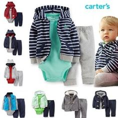 Online Shop Original Carters Baby Boys Sets, 2 piece( Cardigan+ Pant),Baby Blue clothing , 3 pices Cotton Hooded Cardigan Pant ,Freeshipping|Aliexpress Mobile