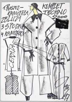 """Jerzy Antkowiak, """"Moda Polska"""", Komplet Techno 2000"""",  kolekcja 1996/1997, wł. MNK #PRL #Moda Polska #Polish Fashion #Jerzy Antkowiak"""