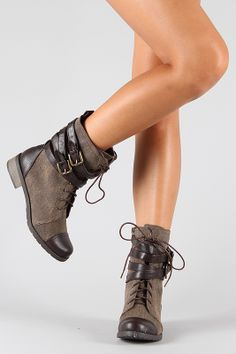 I bought these for Fall; that's a good reason, right?  Bamboo Croft-12 Two Tone Military Mid Calf Boot - Brown.