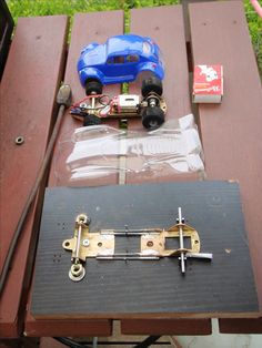 007 so made basic chassis jig from wood and canabalised one of two cheap cars off ebay