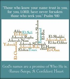 Knowing God by Name - free printable on the Names of God from @Renee Swope 's A Confident Heart Study- love this!
