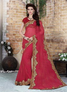 Masterly Net Patch Border Work Designer Saree