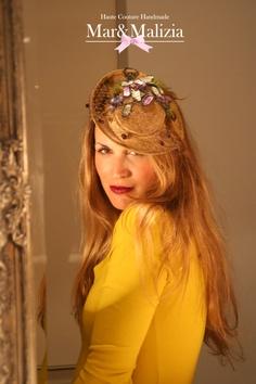 Tocado Vintage Mod. Liliette.   Pieza única, compra en taller y on line.  www.tocadosmarymalizia.blogspot.com