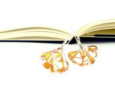 Ginkgo Leaves Earrings. Long Silver Earrings. Fall by KUKLAstudio