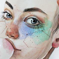 #detalle #art #arte #artwork #artsy #illustration #ilustracion #watercolor #acuarela #draw #drawing #dibujoalapiz #inspiration #creativity #aquarelle #fashionart #fashionillustration #artsgallery #pecas #eyes #ojos #portrait #retrato #colouredpencil #bubbles #lapiz #turquesa