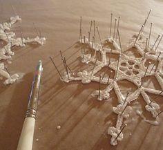 Crochet snowflakes blocking and stiffening