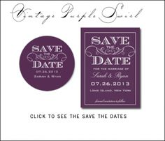 #Purple #Wedding Save the Date Cards and Matching Stickers  by Antique Chandelier©. Purchase through zazzle.com/antiquechandelier*