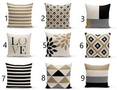 Throw Pillow Cover designs in Beige, Grey, Black, and Taupe. Individually cut and sewn, features a 2 sided print and is finished with a zipper for ease of care. SIZES: 16in. X 16in. 18in. X 18in. 20in. X 20in. 26in. X 26in. (euro) 14in. X 20in. (lumbar) IMPORTANT: These are COVERS ONLY! You can cover your existing pillows or purchase inserts online or at any local craft store. FABRIC: Spun Poly Poplin. Medium weight high quality fabric that is durable and slightly textured and suitable f...