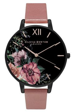 Olivia Burton 'After Dark' Leather Strap Watch, 38mm