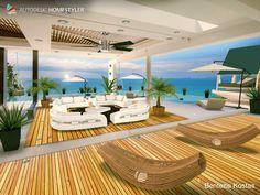 Luxus Villa mit sonnigen Ausblick auf helle Meer