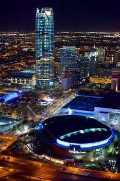 The emerging new downtown Oklahoma City skyline is shown in this recent aerial photo. Devon Energy Center and the Chesapeake Arena. Photo provided by Cooper Ross Oklahoma Usa, Travel Oklahoma, Oklahoma City Thunder, Oklahoma Tornado, Isla Margarita, Great Places, Places To Go, Downtown Okc, Monuments