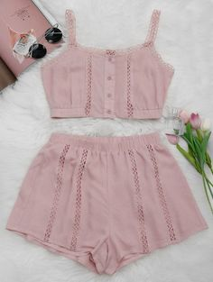 SHARE & Get it FREE | Button Up Openwork Top And Shorts Suit - Pink SFor Fashion Lovers only:80,000+ Items • New Arrivals Daily Join Zaful: Get YOUR $50 NOW!
